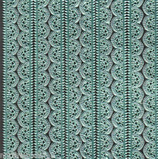 TURQUOISE SCALLOP LACE STRIP BORDER ORNAMENT ICE BLUE GERMANY METALLIC DRESDEN