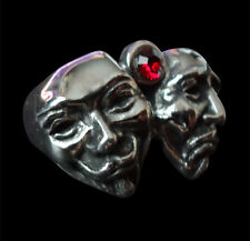 Stainless Comedy & Tragedy Guy Fawkes Mask Ring Custom Size Red Crystal R-171ss