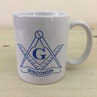 MASONIC MUG - Vtg 70s-80s Wisconsin White Glass Coffee Tea Cup - MUST SEE!