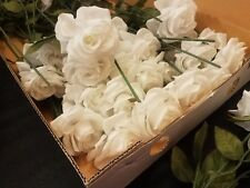 Lot of 44 White Silk Roses Crafts Wedding Home Decor