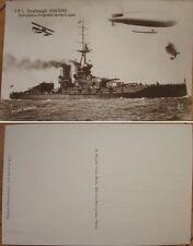 1918 WWI Realphoto Postcard: Dirigible/Airship, Biplane & Dreadnought, Iron Duke