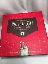 "Williams Sonoma Nordic Elf 7"" Dessert Plates ""Build A Snowman"" Set NIB"