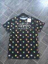 SIZE SMALL MENS SUPER MARIO BLACK T-SHIRT WITH RAISED LETTERING BNWT PRIMARK