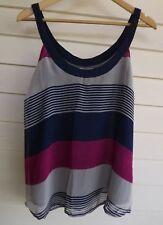 Striking Women's Blue Grey & Pink Singlet Top - Size 10