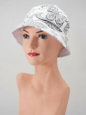 Reversible WHITE BLACK Paisley BUCKET HAT Cap CHEMO HEADCOVER Cancer Cap Turban