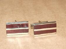 """Vintage 60s Modernist Mexico Alpaca Silver & Red Wood Cuff Links 1/2 X 7/8"""""""