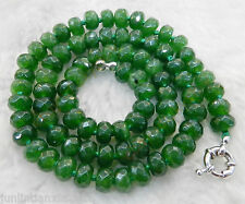 """Dark Green 5x8mm Natural Green Jade Faceted Roundel Beads Necklace 18"""" AA"""