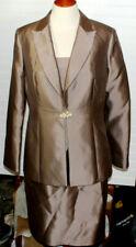 Oleg Cassini Couture 3 pc Silk Suit Set Jacket Skirt Shirt Sz 14