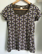 ORLA KIELY Uniqlo Khaki Blue Cream Floral T Shirt Size S 8-10 Cotton Worn Once