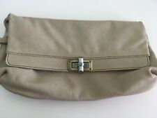 Lanvin Paris Leather Nude Fold Over Envelope Clutch Bag France Happy Purse
