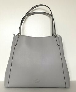 New Kate Spade Jackson Large Triple compartment Shoulder bag Leather Nimbus Grey