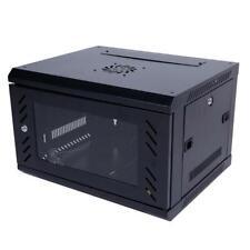 6U Basic IT Wall Mount Network Server Data Cabinet Rack Glass Door Locking Black