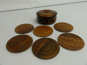 (ref288P) Superb wooden coasters with brass inlay and storage pot