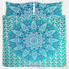 Indian Green Mandala Bedding Hippie Queen Size Bed Sheet Set Cotton Pillow Cover