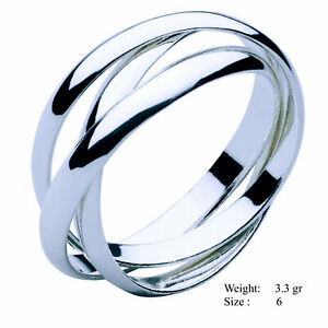 Silver Ring 925 Sterling S/F Solid Ladies Trinity Russian Wedding Band Size 6