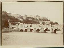 Belgique, Namur, Vue du pont de Jambes et la citadelle,  ca.1905, vintage citrat