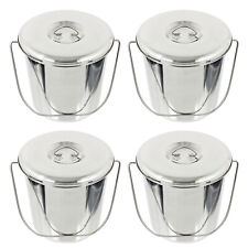 More details for 12l metal bucket + lid stainless steel fire sand garage spill pail handle x 4