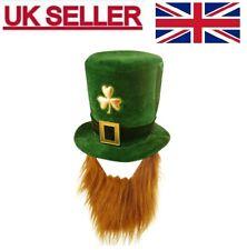 FANCY DRESS IRISH LEPRECHAUN ST PATRICK'S EIRE GREEN VELVET HAT WITH BEARD