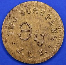 Victorian brass two scruples apothecary weight, J. L. B.  *[18266]