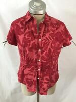 IZOD short sleeve top blouse Size PL petite large tropical floral pink shirt