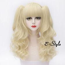 Lolita Anime Cosplay Light Blonde Women Girls 30cm Short Wig + 2 Curly Ponytails