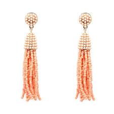 Boucles d`Oreilles Mini Perle Pompon Tassel Fait Main Artisanal Beige Rose AA21