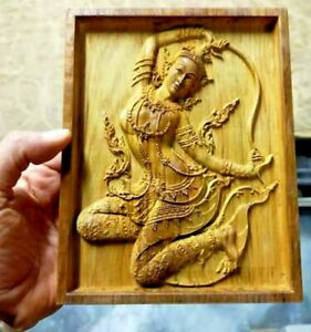 Mother Earth Squeezing Hair Teak Wood Carved Decor Thai Art Figure Wall Picture