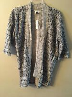 NWT Womens Old Navy Open Front Sweater Large Gray Black White Cardigan
