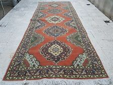 Vintage Handwoven Muted Color Foyer size Wide Wool Oushak Carpet Rug RUNNER 13'