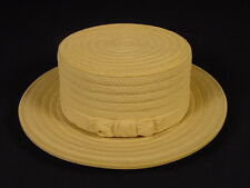 VERY RARE SIGNED SCHILLER 1800s STRAW HAT BUTTER DISH CANE YELLOW WARE