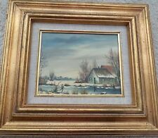 ANTIQUE DUTCH OIL PAINTING ON WOOD FRAMED SIGNED DOORHEIM 3 MEN SKATING