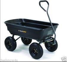 Black 600 Pound Load Poly Dump Cart For Yard Lawn Garden Supplies Debris Wagon