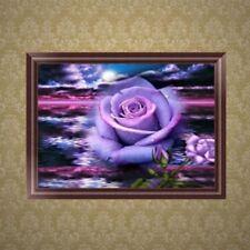 5D Diamond Embroidery Painting Purple Rose Cross Stitch DIY Craft Home Decor