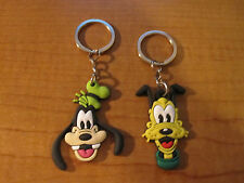(2) GOOFY & PLUTO Disney Dog Keychains Key Chain PVC Rubber FOB with Metal Ring
