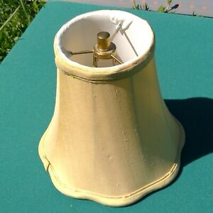 """bell lamp shade 8""""x8""""x4"""" beige silk look small removable light bulb attachment"""