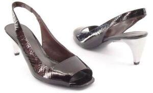 New NINE WEST Women Patent Leather Peep Toe Slingback Heel Pump Shoe Sz 7.5 M