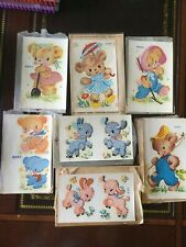 Vintage 6 Duro Decals 1950's Nursery With envelopes, bears,lambs, New