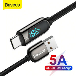 Baseus LED Display Type C USB Braided Cable 5A SuperCharge Data for Huawei 1m 2m