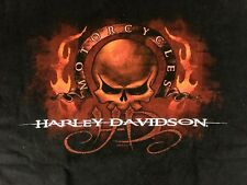 Harley-Davidson T-Shirt Mens XL Black SS Fire Skull Suburban Motors  Wisconsin
