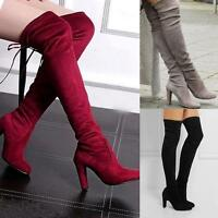 Womens Thigh High Over The Knee Boots Stretch Block High Heel Boots Casual Shoes