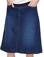 Per Una M&S Denim Skirt Size 8 Stud Pockets A Line With Stretch Midi Gold