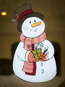 Vintage Snowman Double Sided Window Cling - Seasonal Christmas Window Decoration