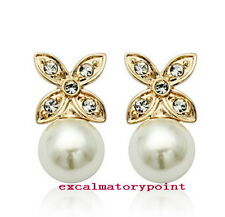 Rose Gold Filled Flower White Pearl Earring Made With Swarovski Crystal XE120