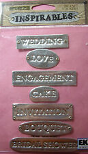 NEW 7 pc ENGAGEMENT INSPIRABLES Wedding Love Bouquet STICKO 3D Metal Stickers