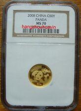 2008 China 1/10oz G50Y gold panda coin NGC MS70