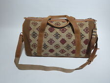 New Duffle Bag Hand-crafted in Kenya Leather/Carpet Original Design