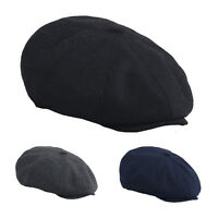 Mens Winter Cotton Beret Hat Gatsby 8 Panel Newsboy Cap Golf Flat Driving Cabbie