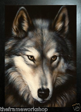 BLACK FRAMED WOLF HEAD - 3D MOVING PICTURE 365mm X 465mm (NEW)