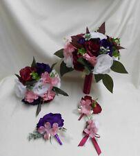 Wedding Silk Flower Bridal Bouquets Package White Purple Burgundy Dusty Rose