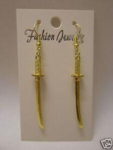 Small Gold Plated Japanese Samurai Sword Earrings